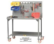 ALL-WELDED MOBILE WORKBENCHES WITH BACKSTOPS AND END STOPS